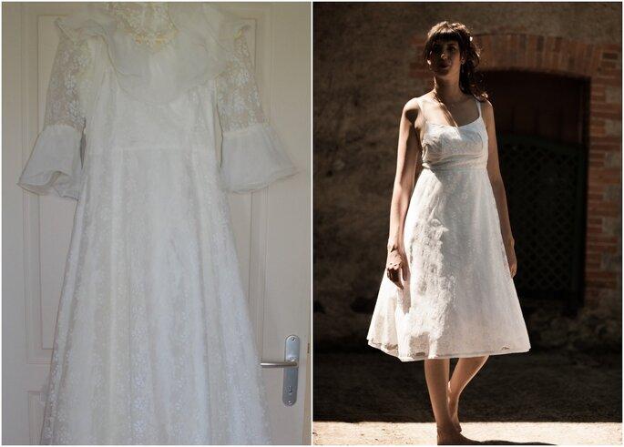À gauche, la robe de mariée de la mère de Pauline. À droite, Pauline dans la robe de sa mère, remise au goût du jour pour son propre mariage.