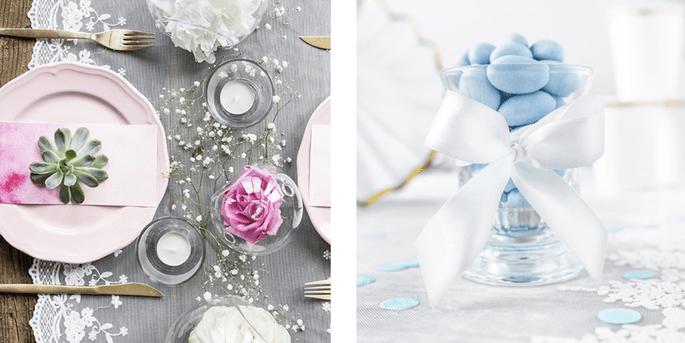 Dentelle flocons et fleurs 45cm et Ruban en satin blanc 25mm