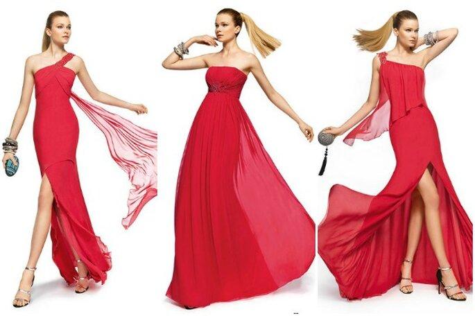 Uno dei colori must per le invitate 2013 sarà il rosso. Ecco le proposte Pronovias Fiesta 2013. Foto www.pronovias.com
