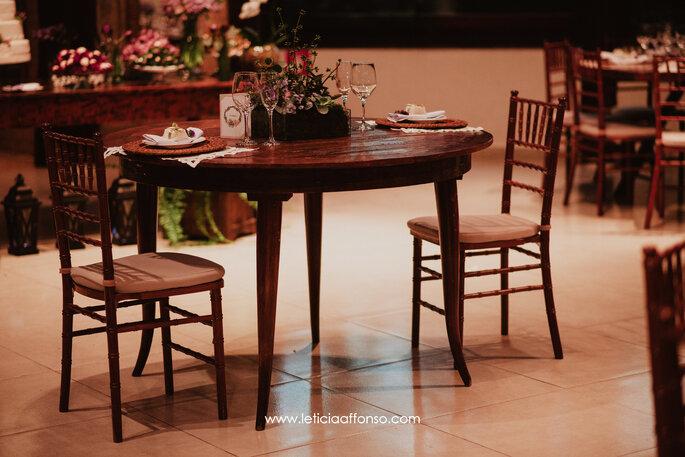 Decoração das mesas dos convidados