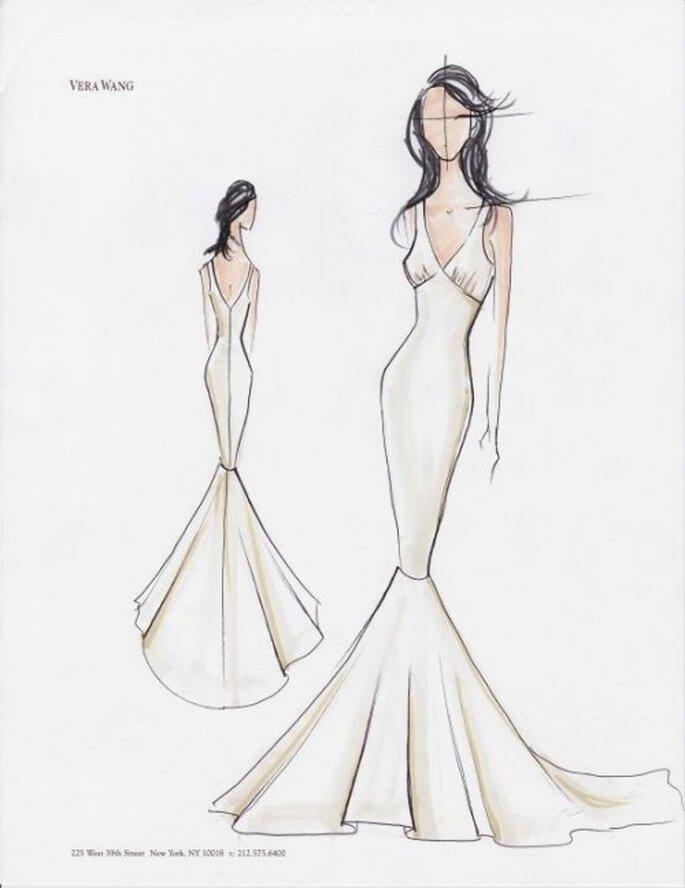 Vestido de novia en boceto con estilo minimalista y elegante - Foto Vera Wang Facebook