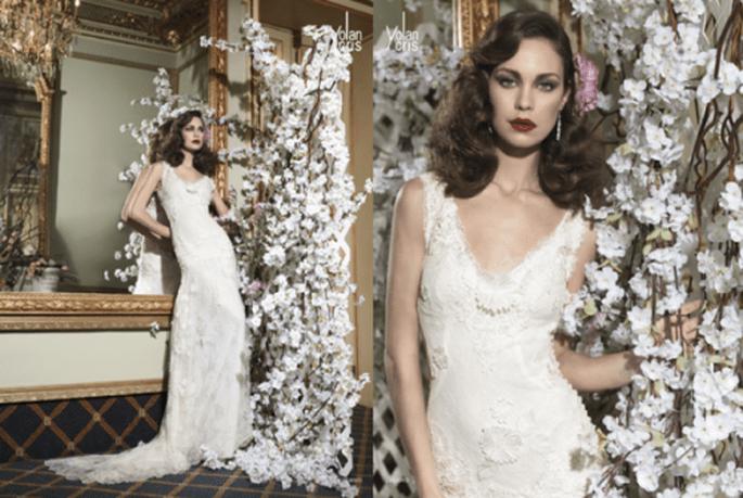 Vestido de novia con lindos detalles y un escote pronunciado para una novia vintage - Foto YolanCris