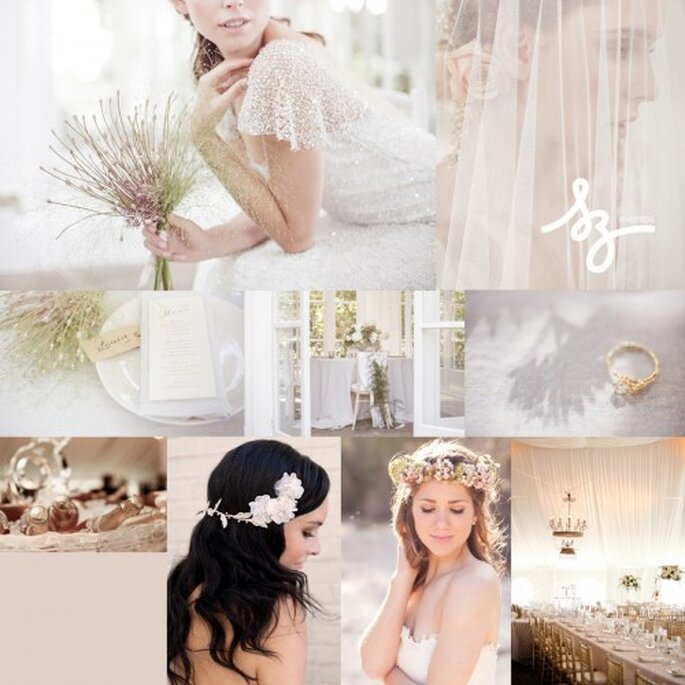 Collage de inspiración para una boda basada en los sueños y colores sutiles - Foto: societybride.com, clairepettibone.com, theeburycollection.com - Diseño de Raisa Torres para SZ Eventos
