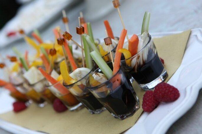 Esempi di cosa può essere servito durante un buffet di nozze. Foto New Image Officina d'Immagine