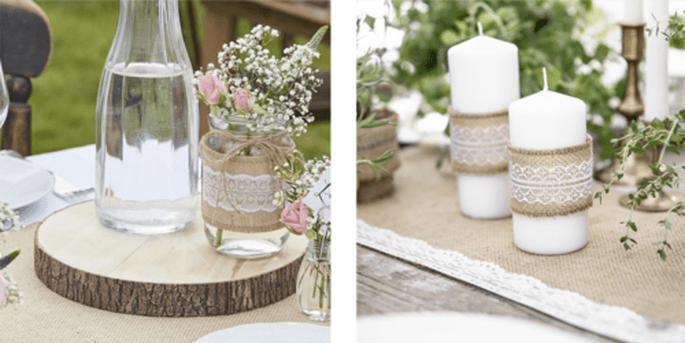 Bûche en bois artificiel et Ruban de jute avec dentelle blanche 5cm