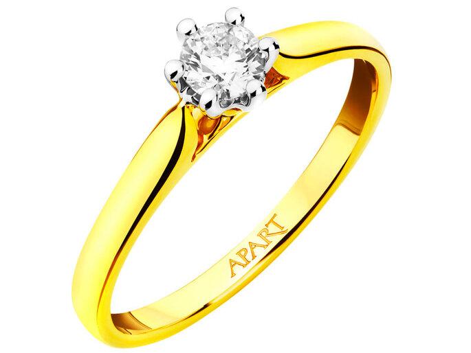 Pierścionek z żółtego i białego złota z brylantem 3690