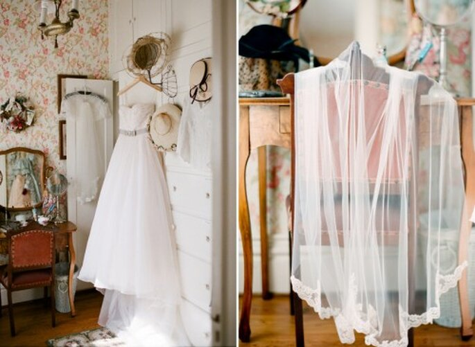 Vista completa del vestido de novia que eligió Cheryl - Foto Jen Lynne