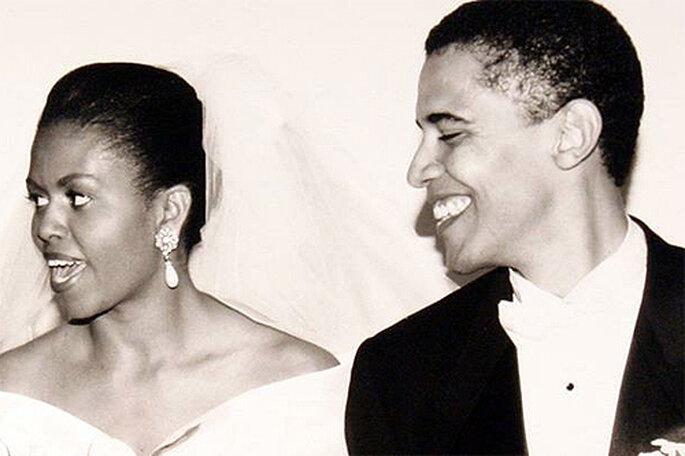 El matrimonio Obama ha compartido esta foto de su boda en Facebook y Pinterest. Foto: Facebook