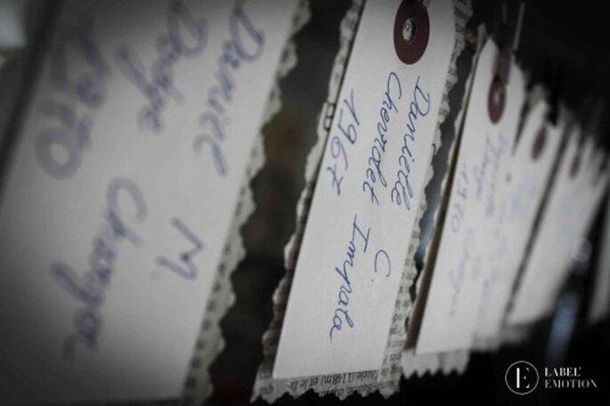 Escort Cards Retro Label' Emotion Montpellier Organisateur mariage