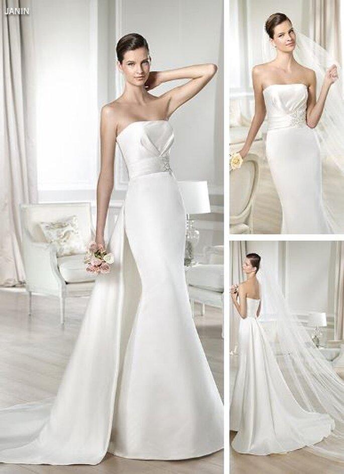 Suknia ślubna z długim odpinanym trenem