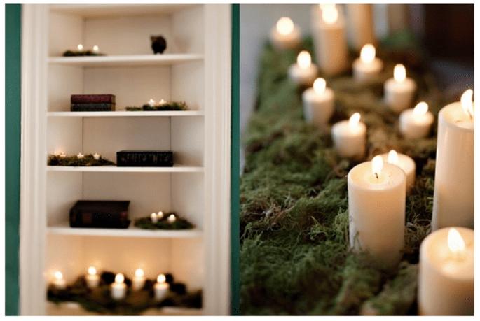 Decoración de boda con velas - Foto Leigh Miller