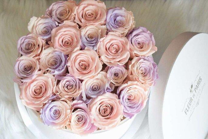 caixa com rosas tons rosa e lilás