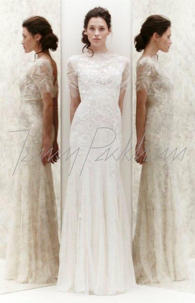 Hochzeitskleid mit Spitze und transparenten Einsätzen -Foto Jenny Packham