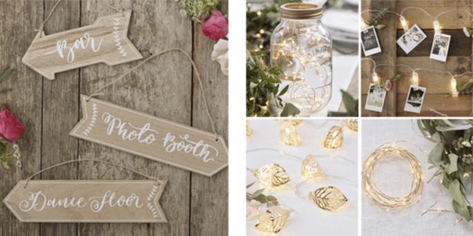 Signalisation de mariage vintage et Lumières décoratives