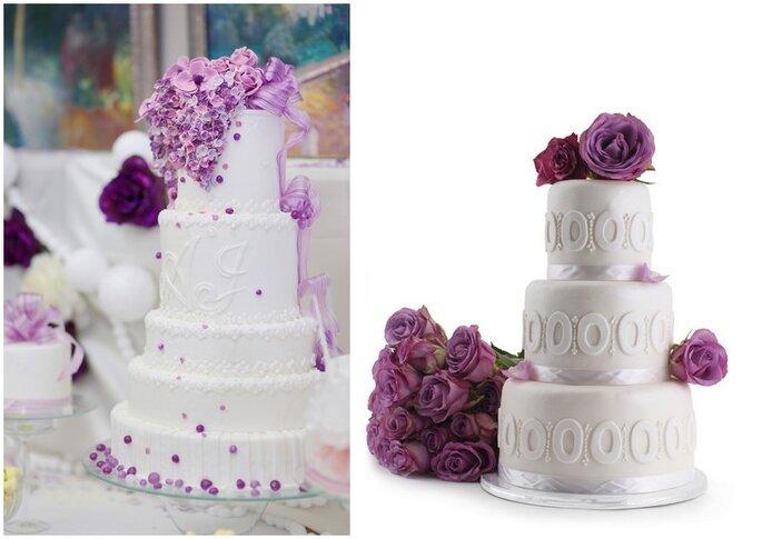 Ponqués de boda en violeta y blanco. Foto vía Shutterstock