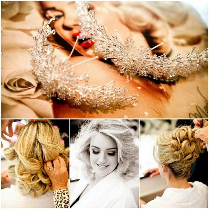 El toque final al peinado de novia: peinetas de joyería. Foto: Paulo Heredia