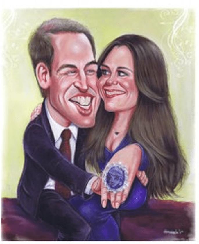 Una caricatura de Guillermo y Kate