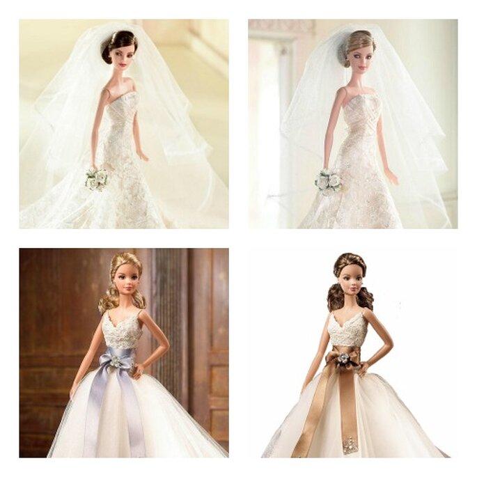 I due abiti proposti in alto sono creazioni Carolina Herrera, i due in basso sono modelli di Monique Lhuillier. Foto www.barbiecollector.com