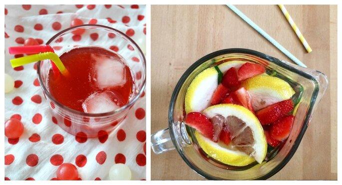 Cocktail Malibu eau de fraise, eau parfumée au citron, fraise.