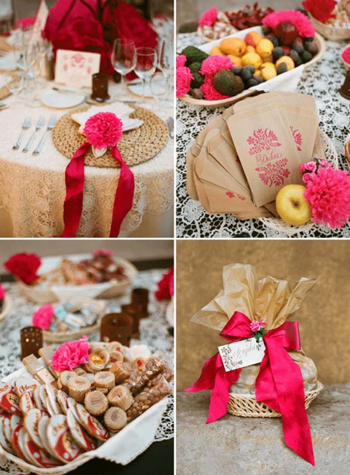 Mesa de dulces y banquete decorados con flores rosa intenso - Foto Aaron Delesie