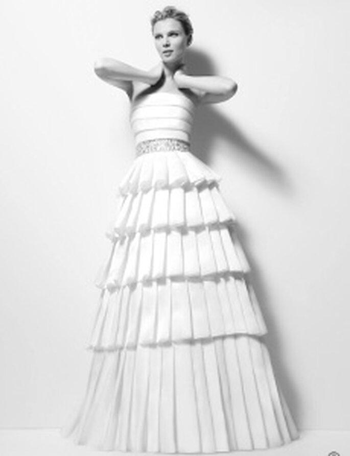 Karl Lagerfeld 2010 - Ximena, vestito lungo in organza ricami in pietra, cinturone, senza bretelline