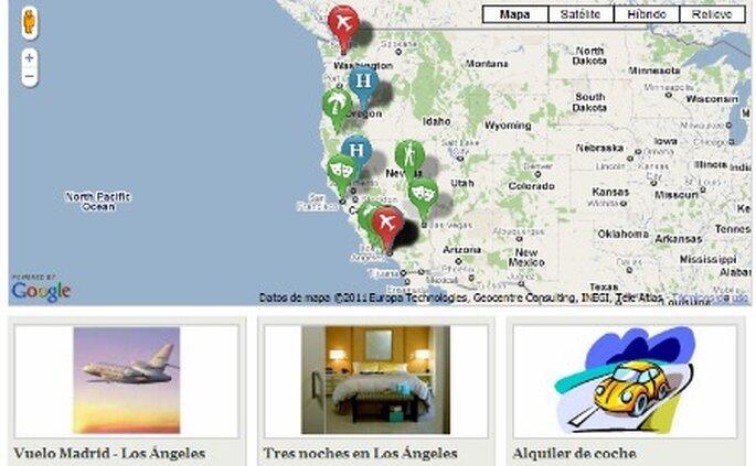Divide las etapas de tu viaje de novios en una mapa de forma sencilla