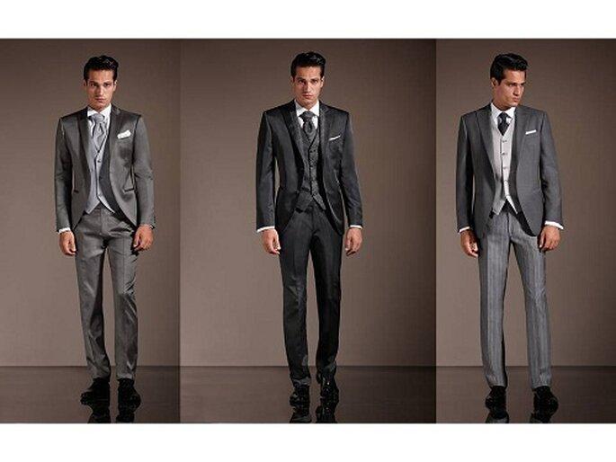 Tre abiti da cerimonia in grigio colore dominante nella collezione primavera-estate 2012. Foto: marchiabbigliamento.it