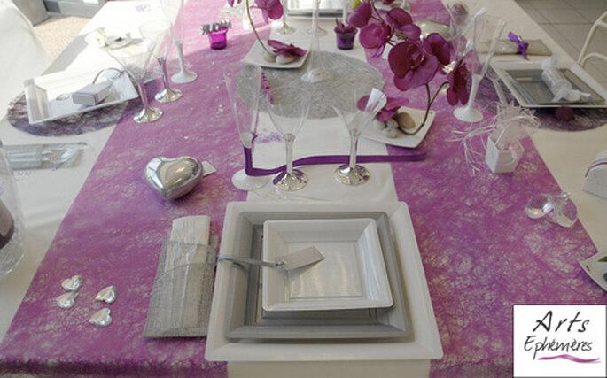 Table romantique rose et blanche - Arts Ephémères