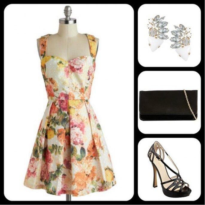 Vestido multicolor para bodas - Fotos: vestidos de Louche ($134.99), aretes de ASOS ($15.19), clutch de Aldo ($24.25) y sandalias de Nine West ($79.99)
