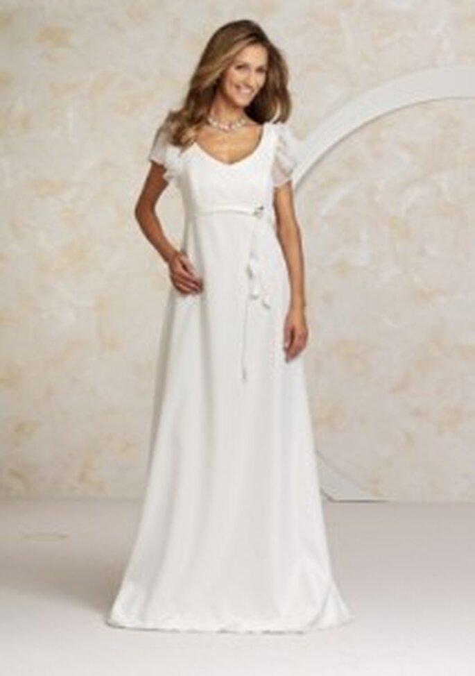 Valérie 2010 Zora - Weißes Empire-Kleid mit Satingürtel und Puffärmeln