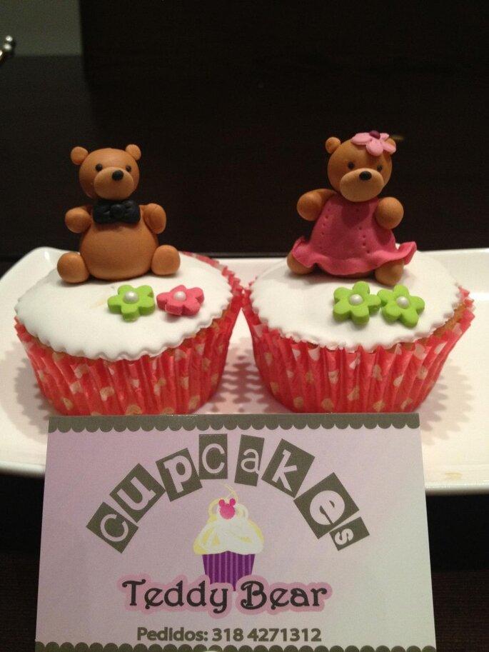 Divertidos y románticos cupcakes para tu boda. Foto: Cupcakes Teddy Bear