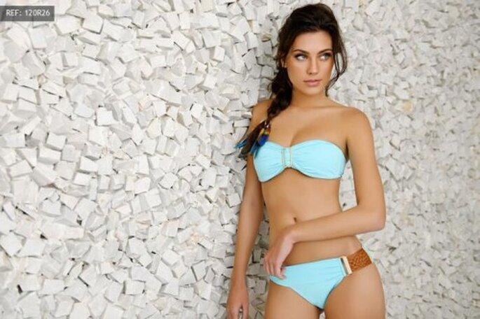 Bikini strapless en color azul cielo - Foto Pokopano