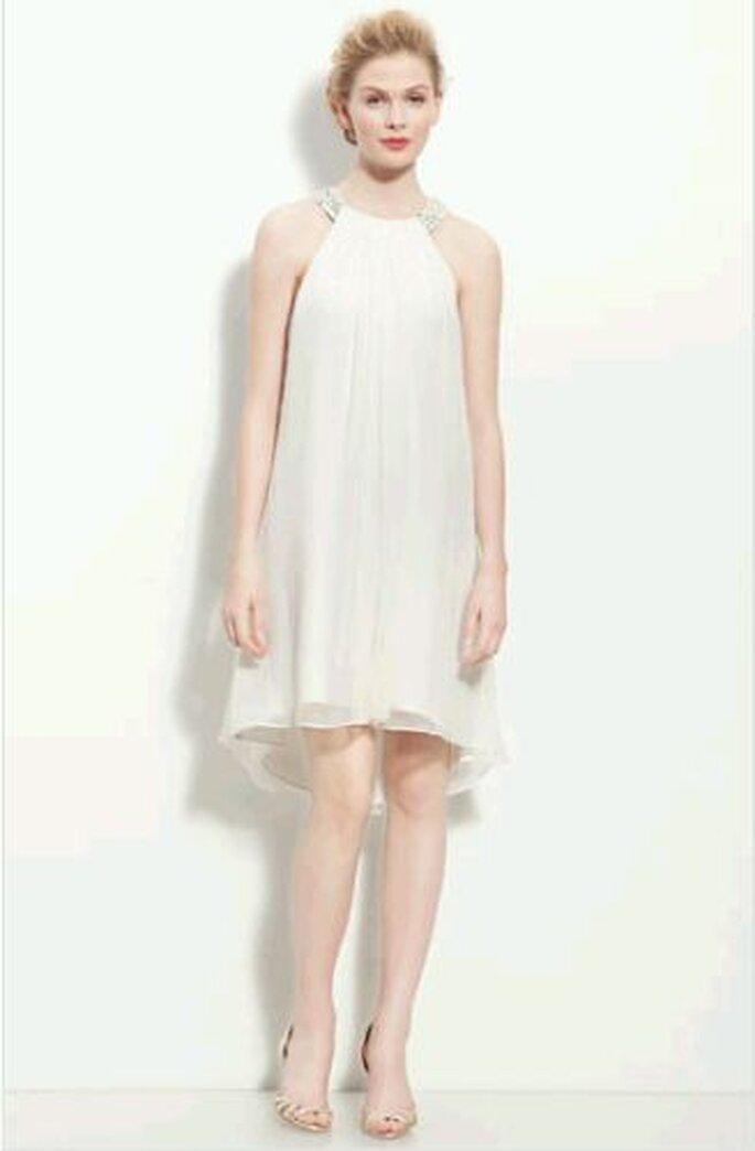Calvin Klein Beaded Halter Chiffon Dress