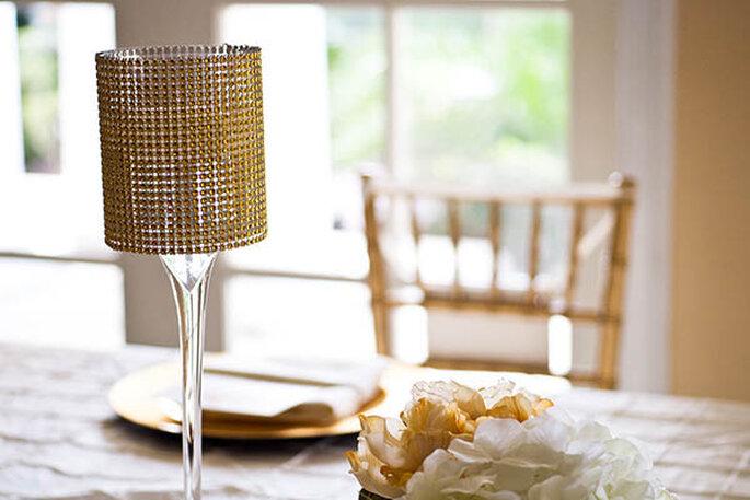 Para un toque muy glam, nada mejor que unas lámparas en los centros de mesa - Foto shfall Mixed Media Inc