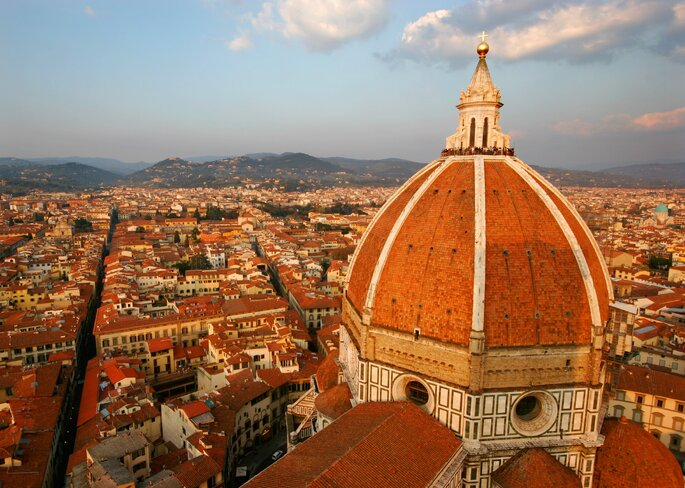 View on Florence Duomo and city from Campanile tower.