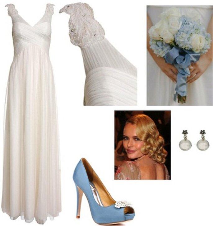 Foto: Abito Monsoon, Bouquet Style Me Pretty, Acconciatura Kate Bosworth, orecchini Accessorize, scarpe Badgley Mischka
