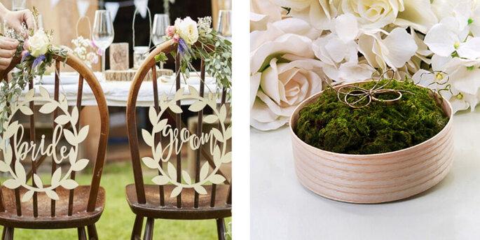 Decoraciones en madera bride y groom