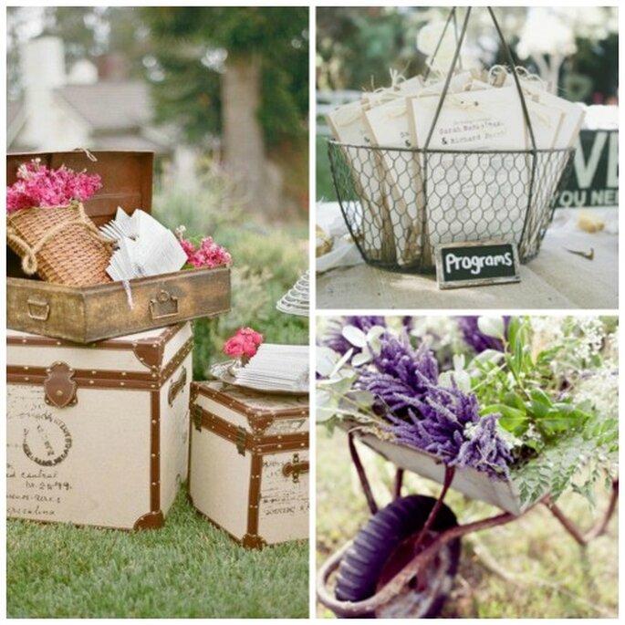 Utilisez ce qui vous entoure pour donner une touche de décoration vintage - Source : Pinterest - carnet de mariage http://pinterest.com/cdemariage/boards / https://www.carnetsdemariage.tumblr.com