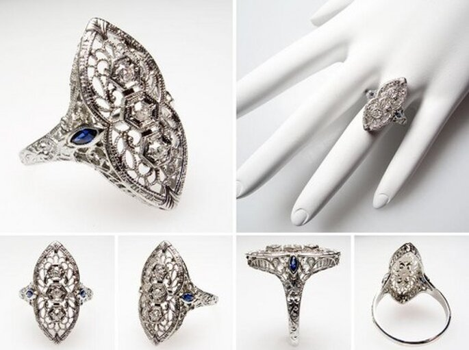 Anillo de compromiso con diamantes y zafiros estilo art deco - Foto Eragem