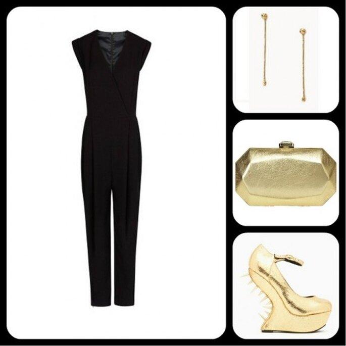 Complementa el jumpsuit con accesorios dorados - Fotos: jumpsuit de Mango, aretes de Forever 21, clutch de Nine West, tacones de Nasty Gal