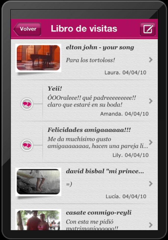 Tus invitados pueden dejar mensajes y subir fotos el día de la boda con ayuda de nuestra aplicación en iPhone