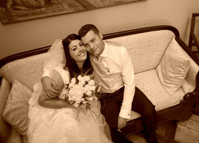 Elisa e Alessio felici nel giorno del loro matrimonio, il 3 settembre 2011. Foto di Marco Roveri