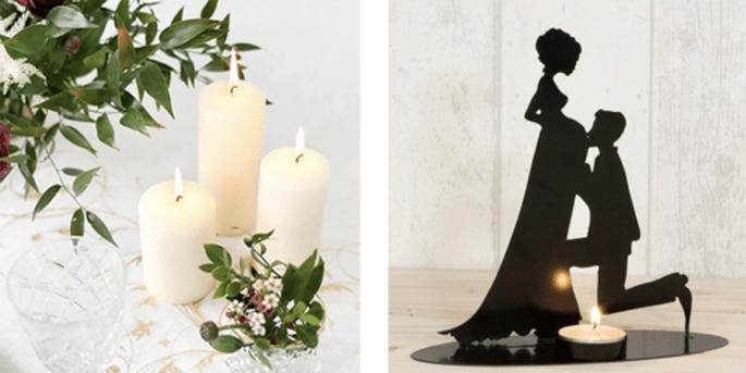 Grande bougie décorative ivoire 6 pièces et Bougeoir mariée enceinte