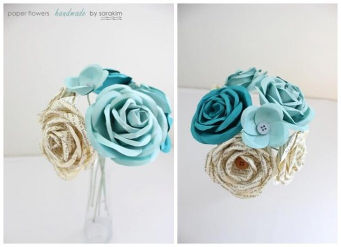 Arreglos florales para boda. Foto de Handmade by Sara Kim.