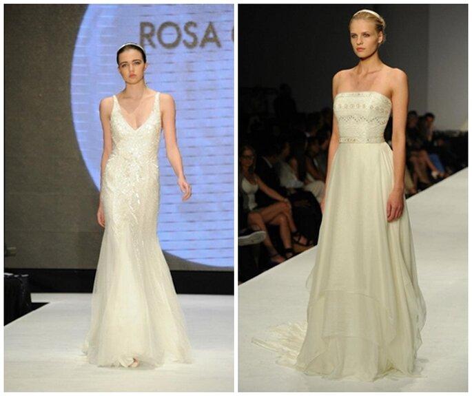 Il tulle plissettato è una componente costante tra i modelli Rosa Clarà, anche per il 2014. Foto: Rosa Clará. Facebook.
