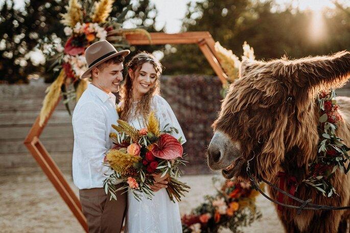 Die Farben des Orients Hochzeitsdekoration Brautpaar