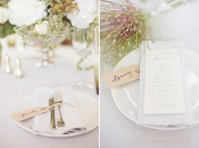 Dezente Menükarte für Ihre Hochzeitsfeier - Foto Sarah Gawler
