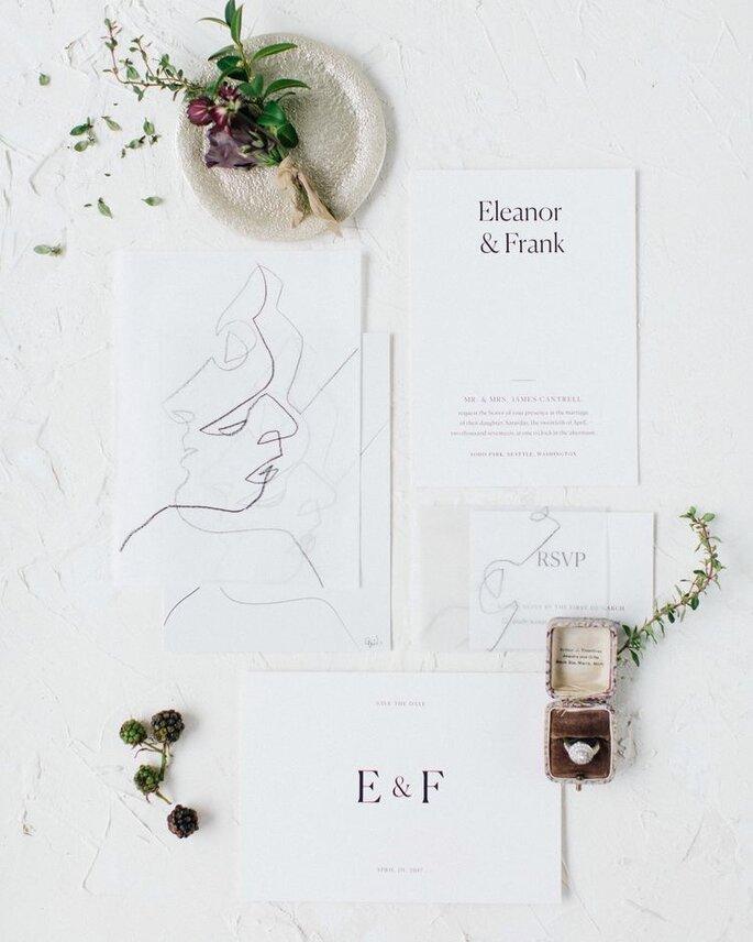 Hochzeitseinladungen Trends Brautpaar in Line Art