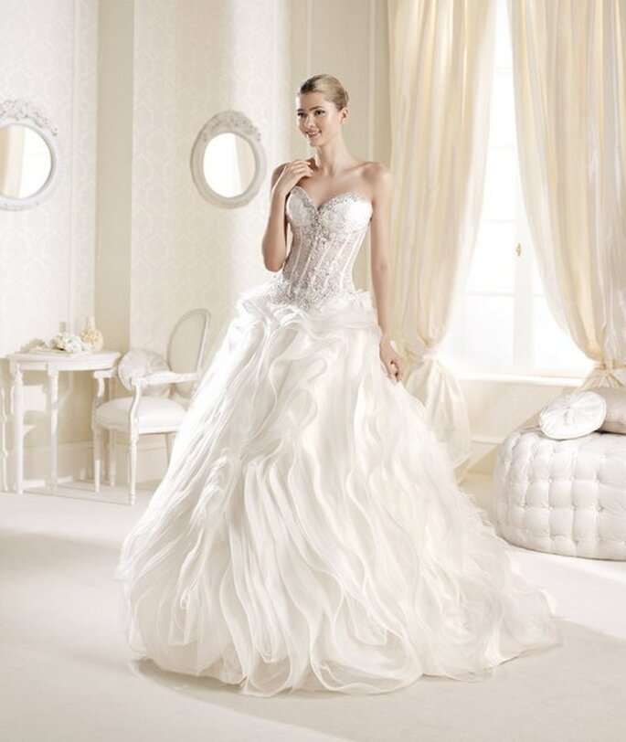 Vestido de novia 2014 corte princesa con escote strapless y falda amplia - Foto La Sposa