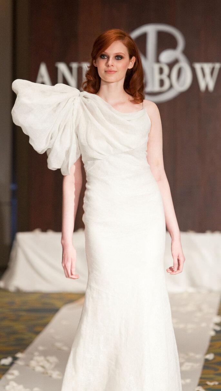 Rhiannon, Goddess of Birds and Horses: Silk cotton metallic linen volume shoulder gown, $1,340.